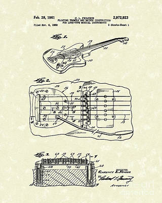 Lute Drawing - Fender Floating Tremolo 1961 Patent Art by Prior Art Design