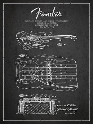 Fender Floating Tremolo Patent Drawing From 1961 - Dark Art Print by Aged Pixel