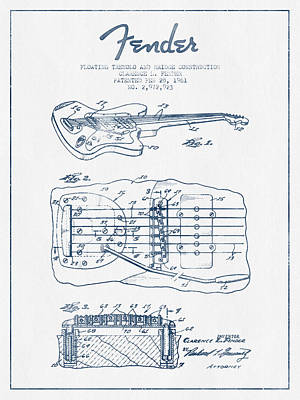 Fender Floating Tremolo Patent Drawing From 1961 - Blue Ink Art Print by Aged Pixel