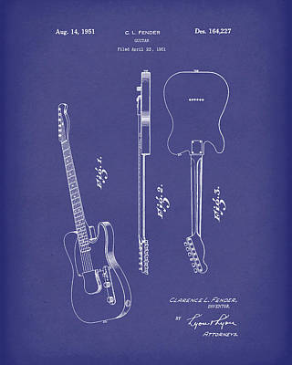 Drawing - Fender Guitar 1951 Patent Art Blue by Prior Art Design
