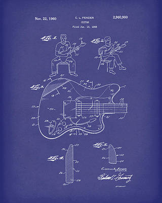 Drawing - Fender Guitar 1960 Patent Art Blue by Prior Art Design