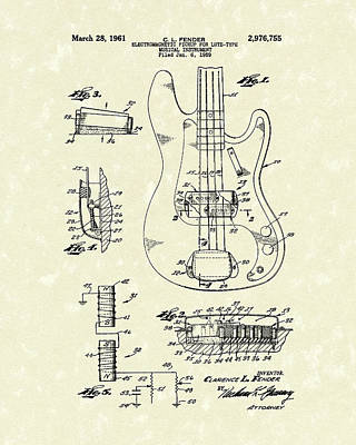 Fender Drawing - Fender Guitar 1961 Patent Art by Prior Art Design