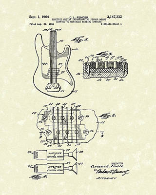 Electric Drawing - Fender Guitar 1964 Patent Art by Prior Art Design