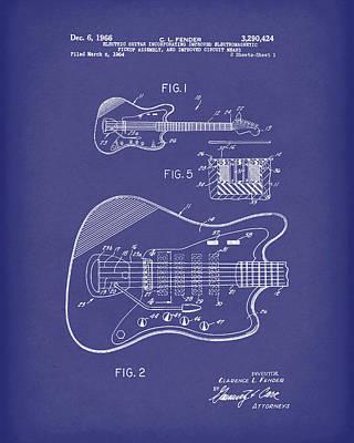 Drawing - Fender Guitar December 1966 Patent Art Blue by Prior Art Design