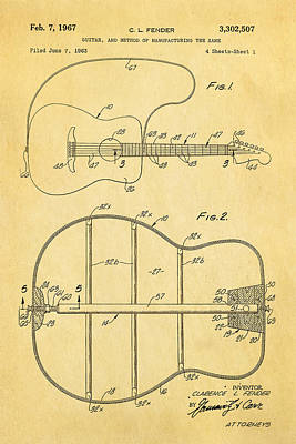 Guitarist Photograph - Fender Guitar Manufacture Patent Art 1967  by Ian Monk
