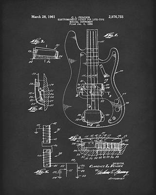 Drawing - Fender Guitar March 1961 Patent Art Black by Prior Art Design