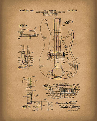 Fender Drawing - Fender Guitar March 1961 Patent Art Brown by Prior Art Design