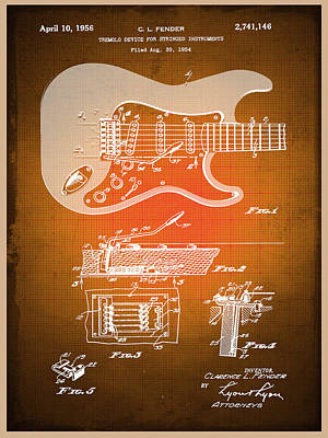 Mixed Media - Fender Guitar Patent Blueprint Drawing Sepia by Tony Rubino