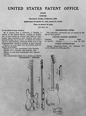Music Drawings - Fender Guitar Patent Charcoal by Dan Sproul