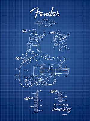 Acoustic Guitar Digital Art - Fender Guitar Patent Drawing From 1960 - Blueprint by Aged Pixel