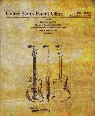 Music Paintings - Fender Guitar Patent On Canvas by Dan Sproul