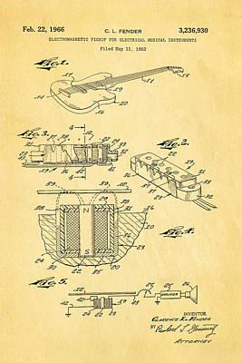Leo Photograph - Fender Guitar Pickup Patent Art 1966  by Ian Monk