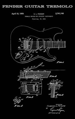 Historical Digital Art - Fender Guitar Tremolo Patent Art 1956 by Daniel Hagerman