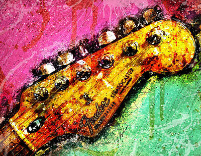 Fender Strat Digital Art - Fender Headstock 1 by Gary Bodnar