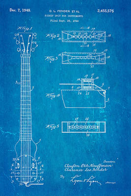 Fender Instrument Pickup Patent Art 1948 Blueprint Art Print by Ian Monk
