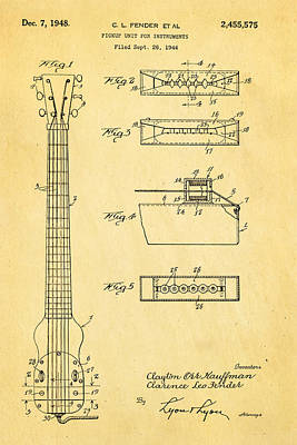 Fender Instrument Pickup Patent Art 1948  Art Print by Ian Monk