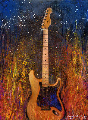 Rock And Roll Paintings - Fender On Fire by Andrew King
