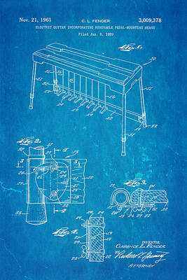 Leo Photograph - Fender Pedal Steel Patent Art 1958 Blueprint by Ian Monk