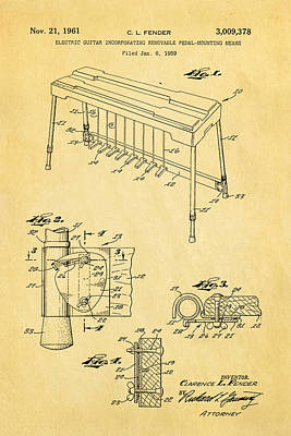 Pedals Photograph - Fender Pedal Steel Patent Art 1958  by Ian Monk