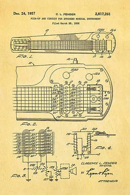 Leo Photograph - Fender Pick-up Patent Art 1957  by Ian Monk