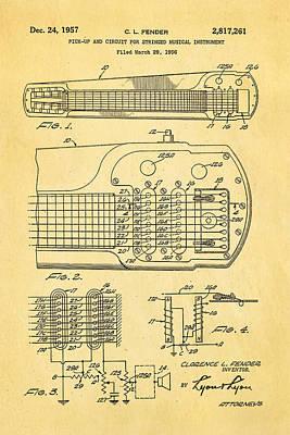 Music Portraits Photograph - Fender Pick-up Patent Art 1957  by Ian Monk