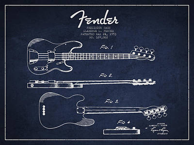 Acoustic Guitar Digital Art - Fender Precision Bass Patent Drawing From 1953 by Aged Pixel