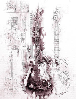 Fender Stratocaster Wall Art - Digital Art - Fender Strat Scarlet Drip by Gary Bodnar