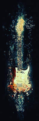Cafe Art Digital Art - Fender Strat by Taylan Apukovska