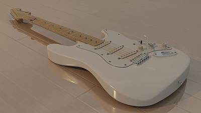 Fender Stratocaster In White Art Print by James Barnes