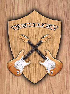 Fender Stratocaster Natural Color Shield Art Print by Doron Mafdoos