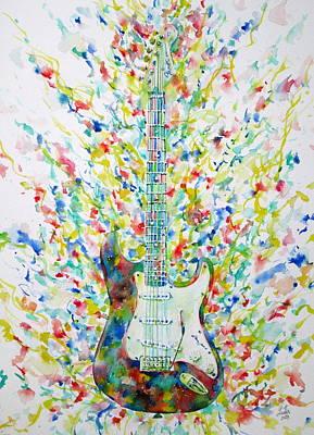 Fender Stratocaster Painting - Fender Stratocaster - Watercolor Portrait by Fabrizio Cassetta