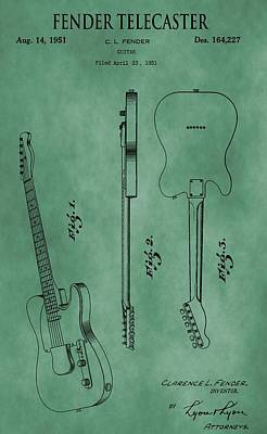 Music Mixed Media - Fender Telecaster Patent Green by Dan Sproul