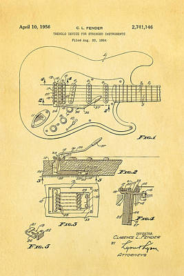 Celebrities Photograph - Fender Stratocaster Tremolo Arm Patent Art 1956 by Ian Monk