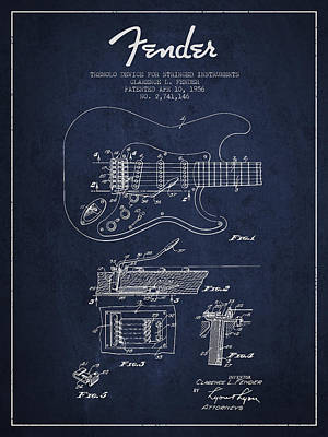 Fender Tremolo Device Patent Drawing From 1956 Print by Aged Pixel