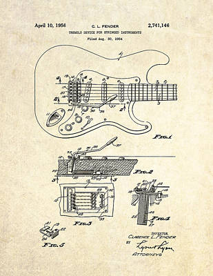 1956 Fender Tremolo Patent Drawing I Art Print by Gary Bodnar