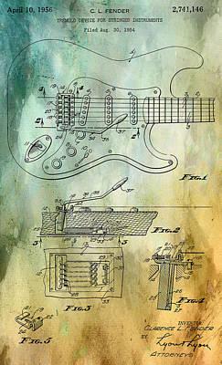 Sound Digital Art - Fender Tremolo Patent by Georgia Fowler