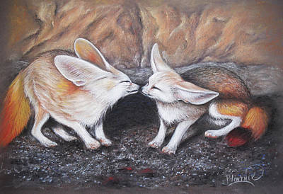 Art Print featuring the drawing Fennec Love by Patricia Lintner