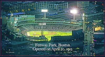Fenway Park At Night Boston Massachusetts Art Print