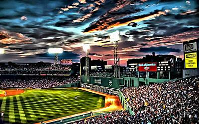 Baseball Painting - Fenway Park At Sunset by Florian Rodarte