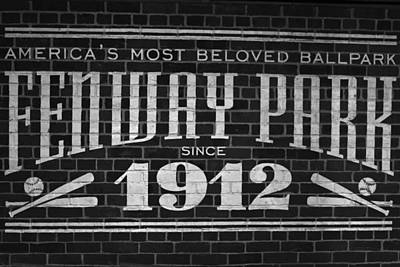 Photograph - Fenway Park Boston Ma 1912 Sign by Toby McGuire