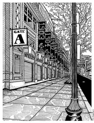 Pen And Ink Historic Buildings Drawings Drawing - Fenway Park by Conor Plunkett