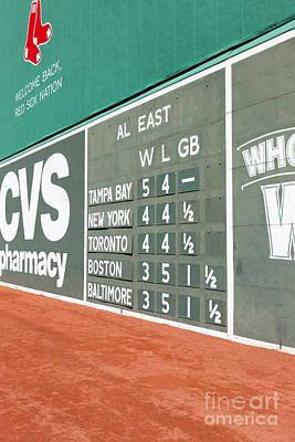 Photograph - Fenway Park Green Monster Scoreboard I by Clarence Holmes
