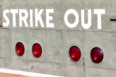 Photograph - Fenway Park Strike - Out Scoreboard  by Susan Candelario