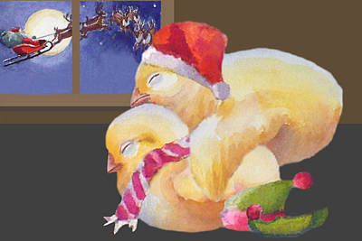 Painting - Baby Chicks Night Before Christmas by Janet Zeh