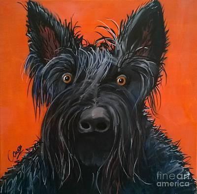 Dog Caricature Painting - Fergus The Dog by Caroline Peacock