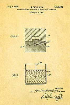 Fermi Radioactive Substance Manufacture Patent Art 1940 Print by Ian Monk