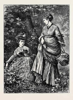 Fern Gatherers Art Print by English School
