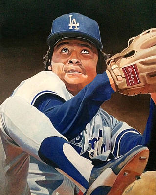 Fernando Vanezuela - Los Angles Dodgers Print by Michael  Pattison