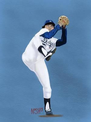 Los Angeles Dodgers Digital Art - Fernandomania  by Jeremy Nash