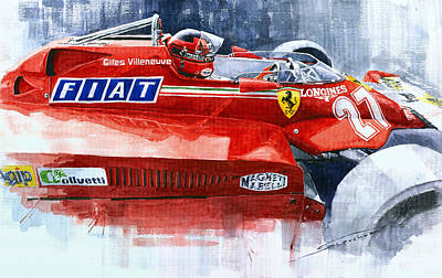 Watercolor Sports Painting - Ferrari 126c Silverstone 1981 British Gp Gilles Villeneuve by Yuriy Shevchuk
